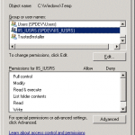 Figure 1. IIS_IUSRS doesn't have permissions