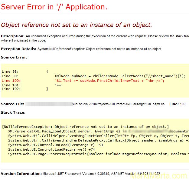 XML document error