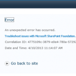 Figure 1. SharePoint error message