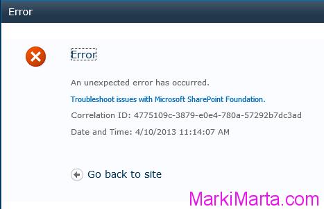 Figure 1. SharePoint error message