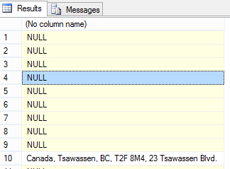 Figure 1. The result of concatenating columns with NULL values