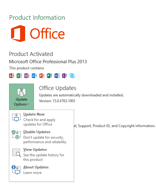 Figure 2. Change MS Office update settings