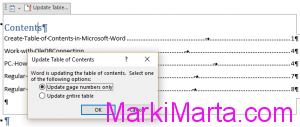 Figure 2. Update Table of Contents in Microsoft Word