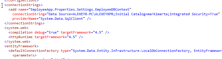 Figure 3. connectionStrings in web.config
